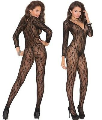 Sophisticated Lace Crotchless Body Stocking Long Sleeves Black Elegant Moments