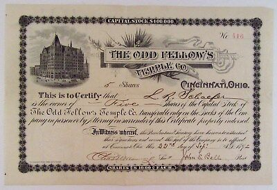 1892 Stock Certificate - THE ODD FELLOWS TEMPLE CO. - CINCINNATI, OHIO - w/ Seal