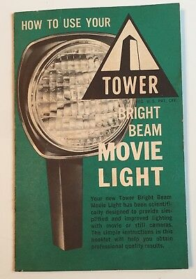 Instruction manual with tips for vintage Sears Roebuck Tower Movie Light
