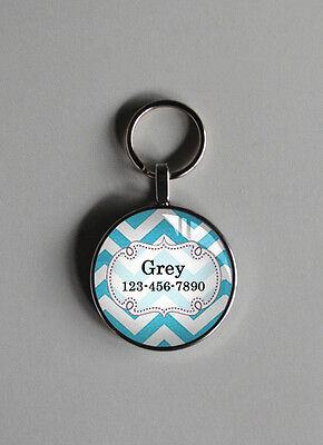 A 3/4 inch blue zig pet tag cat small dogs custom personalized cool pet id