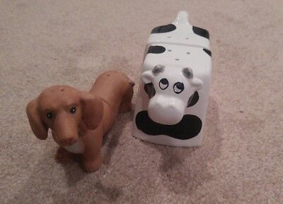 2pc lot Salt and Pepper Shakers * Dachshund Wiener Dog & Cow Shaker