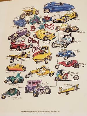 "Vintage 1997 Ed"" BIG Daddy""Roth ""Showcars"" collector poster by MoonEyes *alt*"