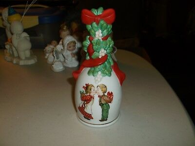 1989 Avon Christmas Bell Kissing Couple Under the Mistletoe,Fine Porcelain