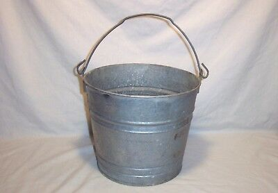 Vintage Galvanized Steel Pail Metal Bucket w/ Handle