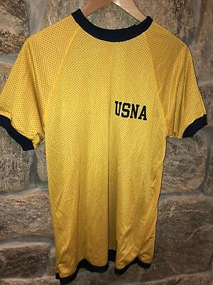 Vintage USNA US Naval Academy Reversible Blue & Yellow Jersey, T Shirt Medium