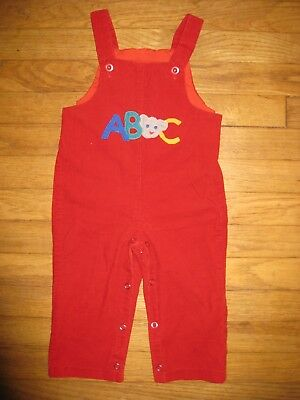 Vintage 1970's/80's Boys Girls Size 24 Months 2T Red Blue Corduroy Bib Overalls