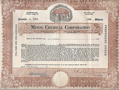 1928 Stock Certificate - Minox Chemical Corporation, 1 Share of Preferred Stock