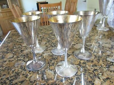 5 Valero Silver Plated Wine Goblets GOLD LINED INSIDE Made in Spain, Vintage 6.5