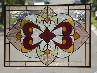"""•Victorian Extra Large Stained Glass Window Panel •24"""" x 16 3/8"""""""