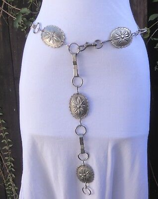 "Vtg. Silver Tone Metal Embossed Concho Chain Belt   43"" long"
