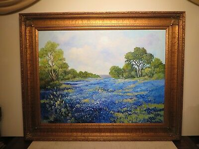 """30x40 original oil painting on board by Hardy Martin """"Texas Bluebonnets"""""""