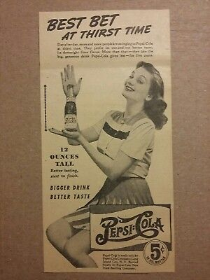 1941 Pepsi Cola Soda Ad 12 Ounces Tall