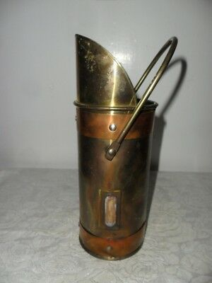 "Vintage Brass & Copper Large Match Stick Holder - 8"" Tall W Hanging Handle"