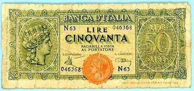 wc061 Italy WWII 50 Lire 10 December 1944
