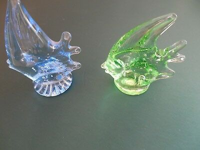 lot-2 GLASS STATUE ANIMAL FIGURINES FISH COLLECTIBLES DECOR.for shelf or tank