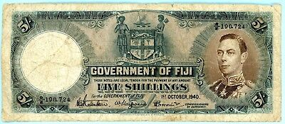 wc097 Fiji, Government of, Five Shillings, 1 October 1940