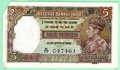wc099: India 5 Rupee 1937 Issue  Reserve Bank of India  King George VI