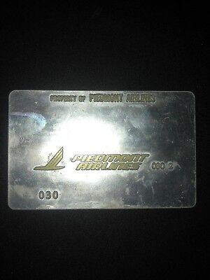 Vintage Piedmont Airlines Metal Ticket Validation Plate, Travel Collectible