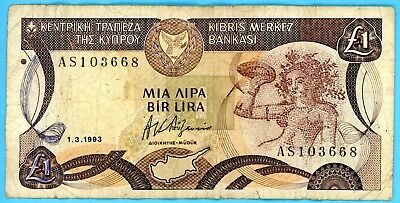 wc110: Central Bank  of Cyprus One Pound 1.3.1993