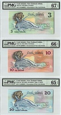Cook Islands ND (1987) PMG 67/66/65 EPQ 3-Piece Set with Matching S/N 000031