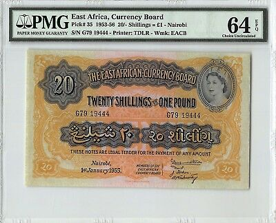 East Africa 1955 P-35 PMG Choice UNC 64 EPQ 20/- Shillings = 1 Pound