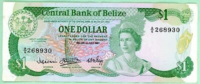 wc164: Central Bank of Belize One Dollar 1 July 1983
