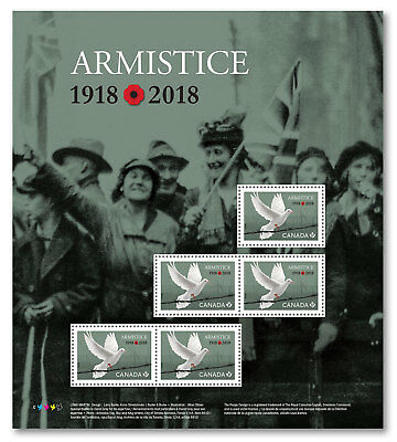 2018 Canada Armistice 1918-2018 Full Pane 5 Stamps WWI History War 100 Years