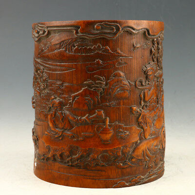 Chinese Decoration Bamboo Hand Carved Pattern Brush Pot AAA0155#