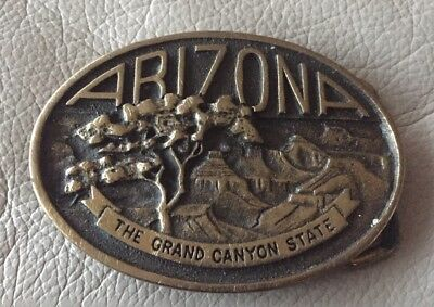 Vintage ARIZONA Grand Canyon State Solid Brass Belt Buckle 1977 Heritage Mint