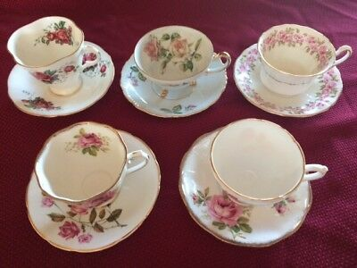 Vintage Lot of 4 Fine Bone China Tea Cup and Saucer Sets Made in England Floral