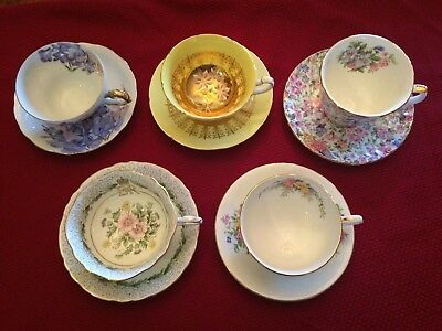 Unique Vintage Lot of (5) Tea Cups & Saucers Made in England Bone China Floral