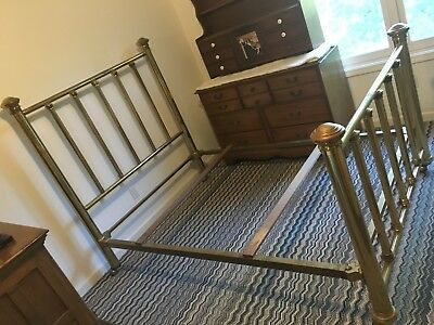 Antique Brass & Iron Bed, 1910-1920 Mission Craftsman, Long time owner.