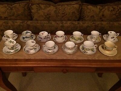 Vintage English Bone China Tea Cups and Saucers Lot of 13