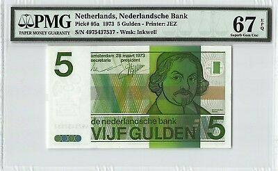 Netherlands 1973 P-95a PMG Superb Gem UNC 67 EPQ 5 Gulden
