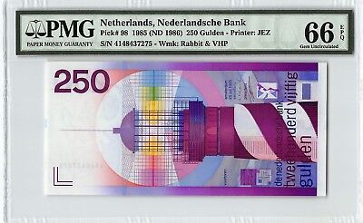 Netherlands 1985 (ND 1986) P-98 PMG Gem UNC 66 EPQ 250 Gulden