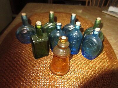 **lot Of 9 Wheaton Colored Depression Glass Small Bottles**