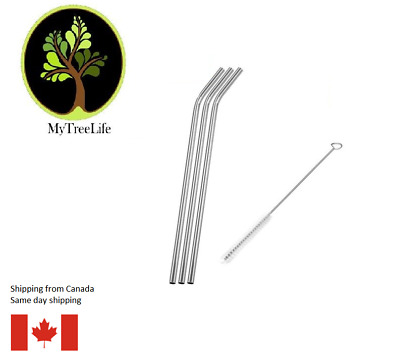 3 reusable metal straws stainless steel ecofriendly with 1 cleaning brushs