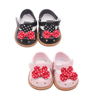 """2 Pair PU Leather Shoes Bowknot Shoes for 18"""" AG American Doll Dolls Outfit"""