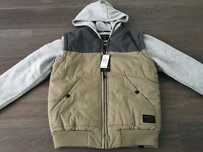 Boys Size 10 QUIKSILVER Brown & Grey Hooded Coat / Jacket - VEST NEW RRP $119.99