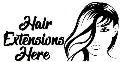 Hairdresser Hair Extensions Salon Shop Window Sign Vinyl Sticker wall art decal