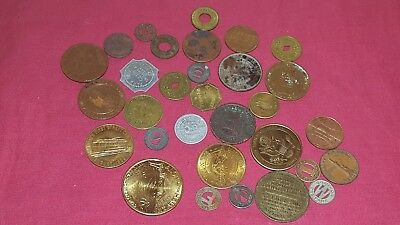 Vintage lot of mixed tokens, medals, fare and coins trade memorial