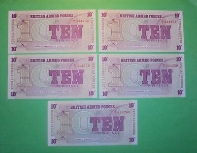 5X British Armed Forces Consecutive NumberUnc Banknotes