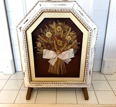Vintage Distressed Fire Screen - Wood/white - Dried Flowers