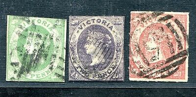 Australia Victoria 3 Emblems To 4 Pence Rouletted & Imperf Used