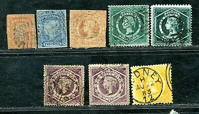 Australia New South Wales Nsw 8 X Imperf / Perf Diadems To 1/ Used