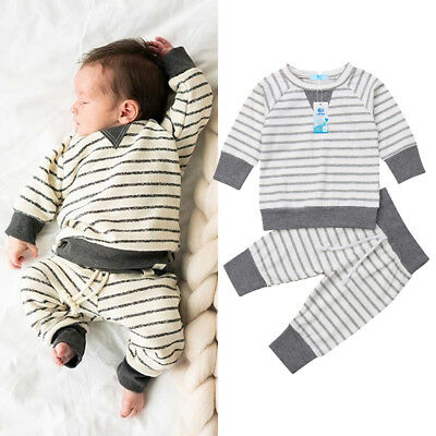 Newborn Infant Baby Girl Boy Striped Clothes Tops Romper Bodysuit Pants Outfits
