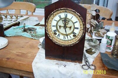 Antique Ansonia Mantel Clock In A Bit Of A State But It Works. Spares Or Repair