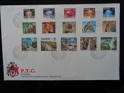 1978 RHODESIA 4th DEFINITIVE SET OF 15v ON FIRST DAY COVER GC
