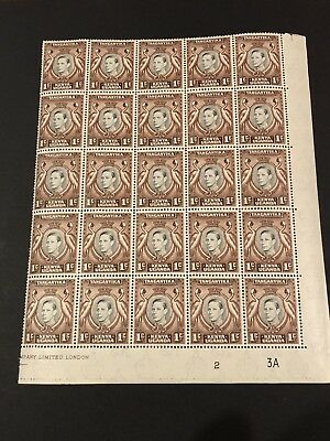 KUT STAMPS 1938 SG #131 1c KGVI BLACK/BROWN PREMIUM BLOCK 20 MNH XF