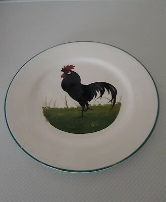 Antique Wemyss  black leghorn cockerel display plate decor byJoseph nekola 19cm
